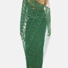 Deep Green Half Silk Jamdani Saree