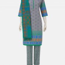 Grey Printed Viscose-Cotton Shalwar Kameez Set